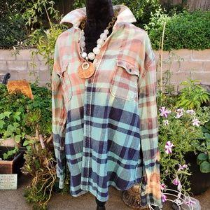 Bleached Flannel ooak buttondown, L